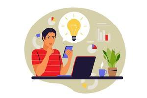 Startup idea concept. Businessman verify light bulb idea and make approval. Vector illustration. Flat.
