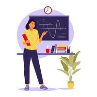 concepto de enseñanza. maestra junto a la pizarra. ilustración vectorial. plano vector