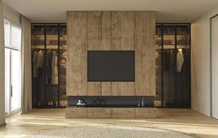 Armario de diseño de interiores moderno con iluminación decorativa y dormitorio. pared de tv de madera. Ilustración de render 3d. foto