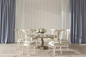 Coastal design wedding room interior with dining table. Mock up white wall in beautiful house background. Hampton style 3d render illustration. photo