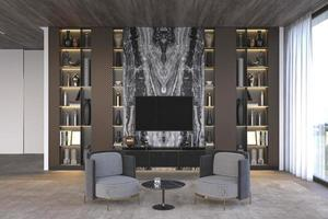 Elegant and luxury modern interior. Open living room with marble tv wall and bookshelf. 3d render illustration bright apartment design. photo