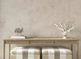Coastal design room. Mockup beige stucco wall in cozy home interior background. Hampton style 3d render illustration. photo