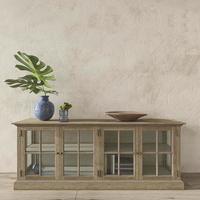 Coastal design room. Mockup wall in cozy home interior background. Hampton style 3d render illustration. photo
