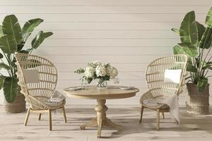 Coastal design dining room with table and wicker furniture. Mockup white wall in cozy home interior background. Hampton style 3d render illustration. photo