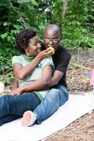 young couple in love at a picnic. photo