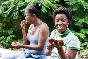 two young women picnic photo