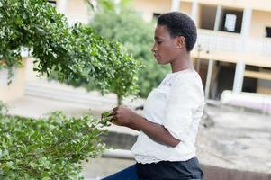 young woman playing the leaves of the tree. photo