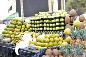 selling fruit at street market. photo