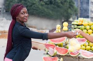 young woman at street market. photo