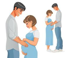 Happy Asian pregnant couple expecting a baby vector illustration