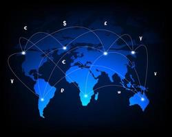 Global network money transfer and currency exchange vector