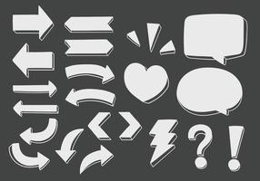 Vector set of hand drawn dimensional doodle including  directional arrows, signs, symbols and speech bubbles.