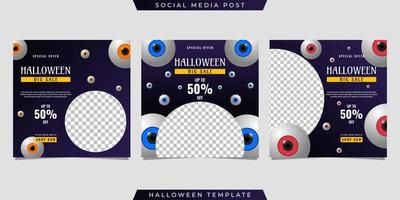 Halloween social media post sale template design vector