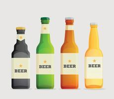 Beer vector icons set glass, Beer bottles set with label on white background