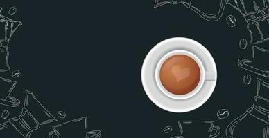 Coffee background with realistic cup of coffee - Vector