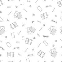 Black and white stationery seamless outline pattern. Vector line art illustration