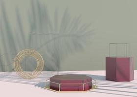 Podium with palm leaves shadows for cosmetic product presentation. Empty showcase pedestal backdrop mock up. 3d render. photo