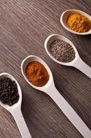 spices on spoons photo