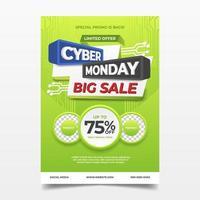 cartel publicitario de venta cyber monday vector
