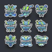 Collection of Winter Sport Stickers vector