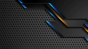 Fondo de movimiento de tecnología futurista con luces brillantes de neón azul naranja video