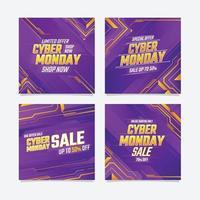 publicación de redes sociales de gran venta de cyber monday vector