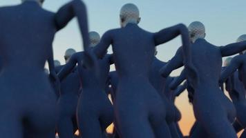 Group of abstract female cybernetic clones running together video