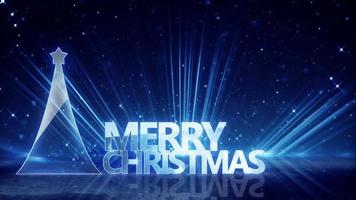 Glass christmas tree and blue light rays loopable animation video