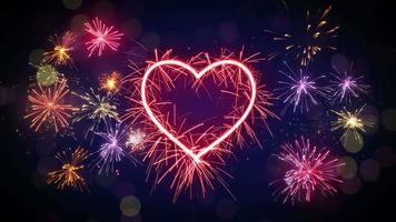Sparkler heart shape and fireworks loop animation video