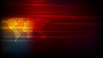 Abstract bright orange red technology motion background with world map and arrows video