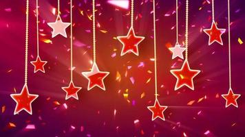 Red shiny stars and confetti background loop video