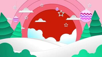 Flat Background Loop - Christmas Pink Sky with Snow video