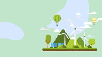 Flat Background - Green City with Wind Turbine and air balloon video
