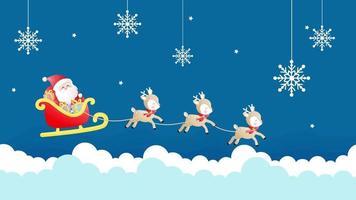 Cartoon Background - Christmas Season Greeting with Santa and Reindeer video