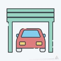 Vector Graphic of Car in Garage - Line Cut Style