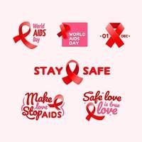 World AIDS Day Sticker Set vector