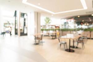 Patio de comidas de desenfoque abstracto en el centro comercial de fondo foto