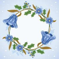 Blue Winter Floral Background vector