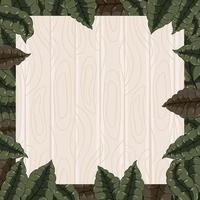 Wood and Foliages Background with Cartoon Style vector
