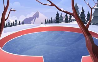 Empty Ice Rink on Winter vector
