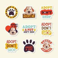 Pet Adoption Sticker Set vector