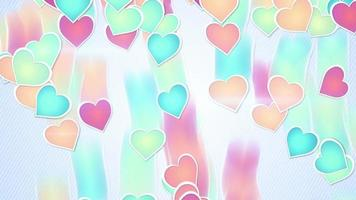 Multicolor hearts falling loopable background video