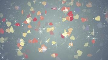 Colorful hearts falling loopable background video