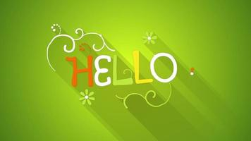 Hello text greeting animation flat style last 5s loop video