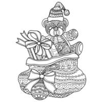 Teddy bear and gift bag hand drawn for adult coloring book vector