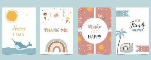 colección de postales para niños con narval, arco iris, sol ilustración vectorial editable para sitio web, invitación, postal y pegatina vector