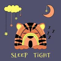 Cute tiger cub sleeps sweetly under the moon and cloud. Orange animal with decor on blue background, vector illustration isolated.