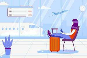 Young woman is sittinding near window at the airport and watching plane before departure. Travel tourist standing with luggage watching sunset at airport window lifestyle vector illustration concept