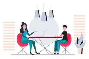 entrevista de trabajo y reunión de negocios de empleo y gerente de recursos humanos de contratación y concepto de vacante de trabajo. empleador y candidato hablando en la ilustración de vector de entrevista de trabajo.
