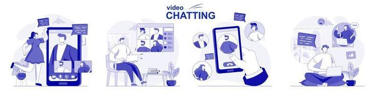 Video chatting isolated set in flat design. People chat with friends online using video calling app, collection of scenes. Vector illustration for blogging, website, mobile app, promotional materials.